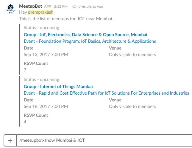 MeetupBot Showing Meetup Lists